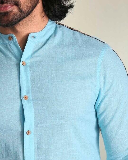 Shop Men's Solid Sky Blue Tape Shirt