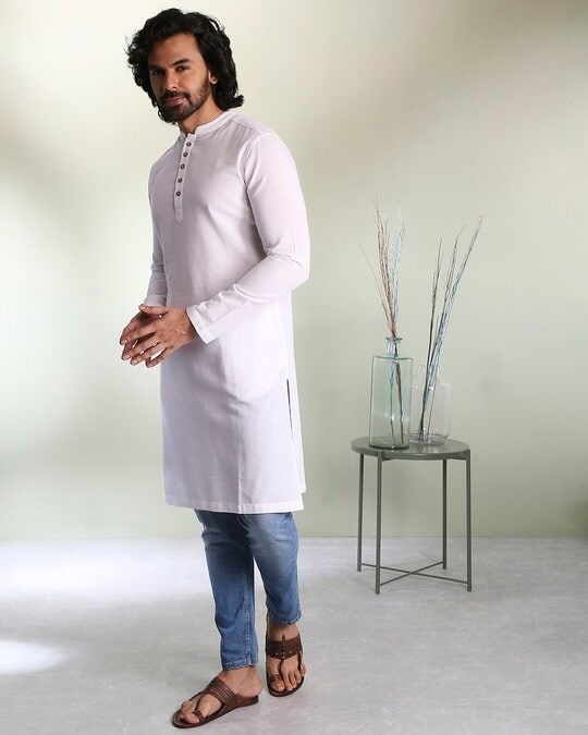 Shop Men's Solid White Long Kurta-Front