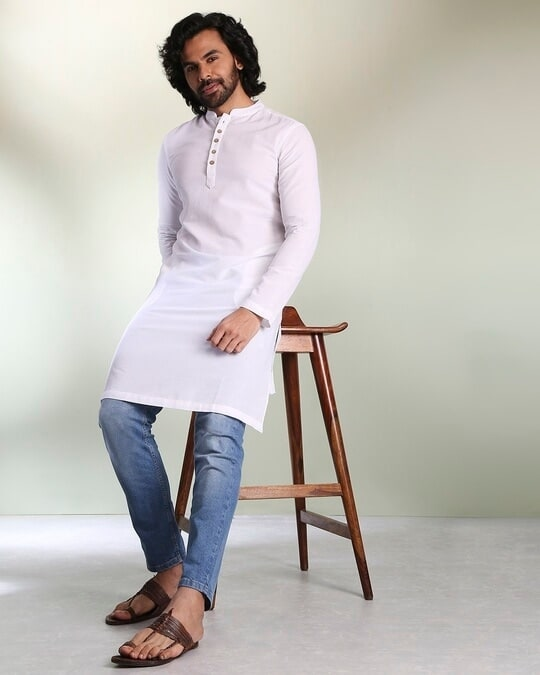 Shop Men's Solid White Long Kurta-Back