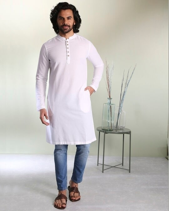 Shop Men's Solid White Long Kurta-Design