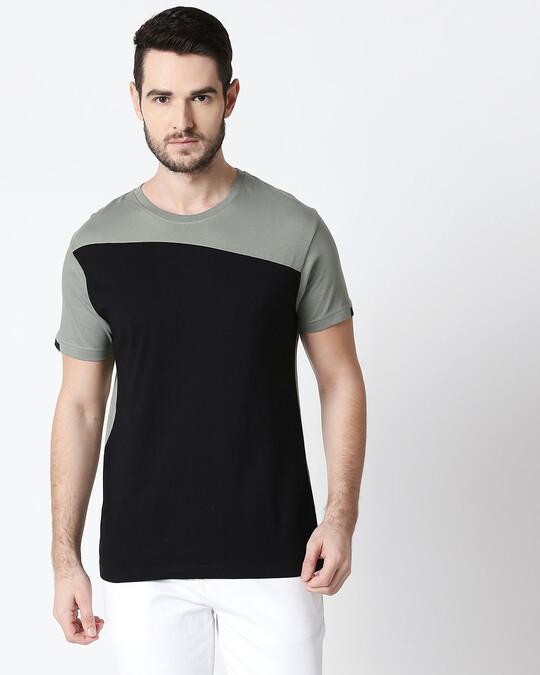 Shop Men's Sport Sleeve Colorblock T-shirt(Black-Laurel Green)-Back