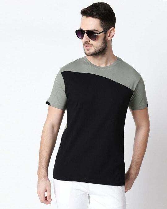 Shop Men's Sport Sleeve Colorblock T-shirt(Black-Laurel Green)-Front