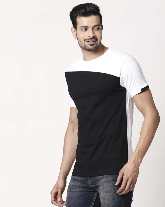Shop Men's Sport Sleeve Colorblock T-shirt(Black-White)-Back