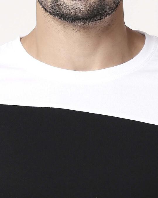 Shop Men's Sport Sleeve Colorblock T-shirt(Black-White)