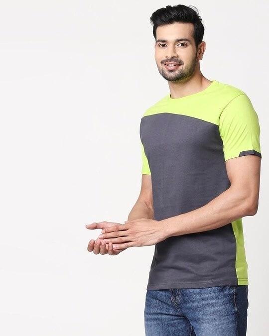Shop Men's Sport Sleeve Colorblock T-shirt(Nimbus Grey-Neon Green)-Back