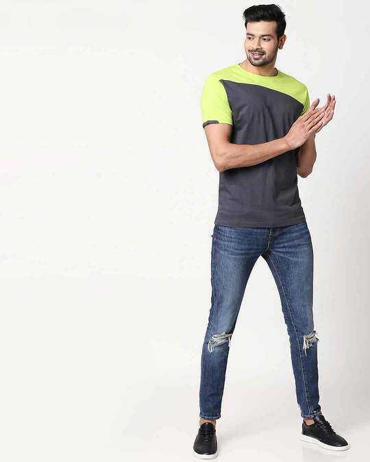 Shop Men's Sport Sleeve Colorblock T-shirt(Nimbus Grey-Neon Green)