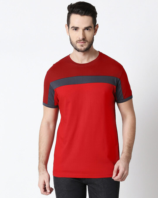 Shop Men's Sporty Three Chest Panel  T-shirt (Scarlet Red-Nimbus Grey-Bold Red)-Front