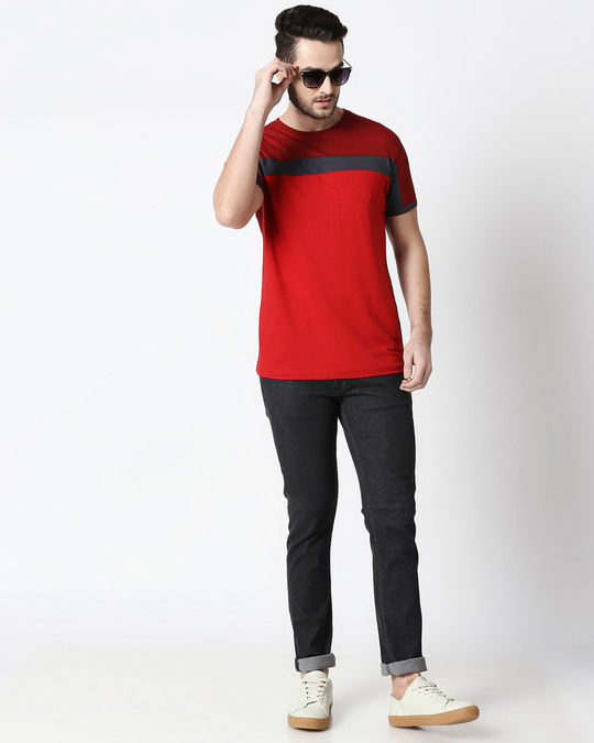 Shop Men's Sporty Three Chest Panel  T-shirt (Scarlet Red-Nimbus Grey-Bold Red)-Full