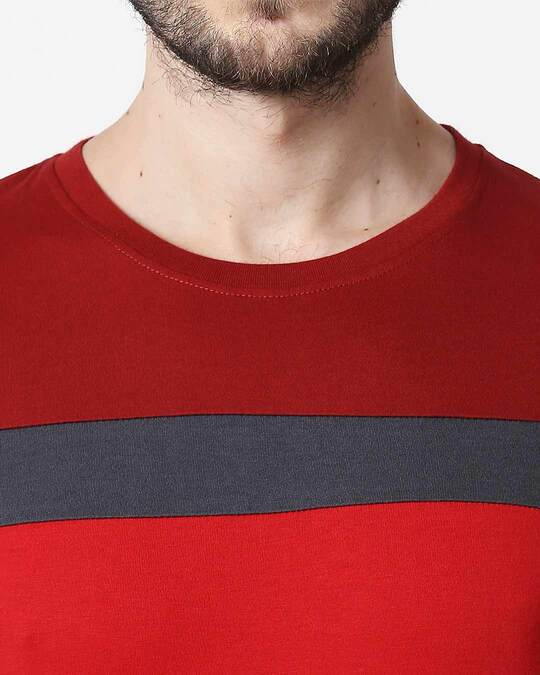 Shop Men's Sporty Three Chest Panel  T-shirt (Scarlet Red-Nimbus Grey-Bold Red)
