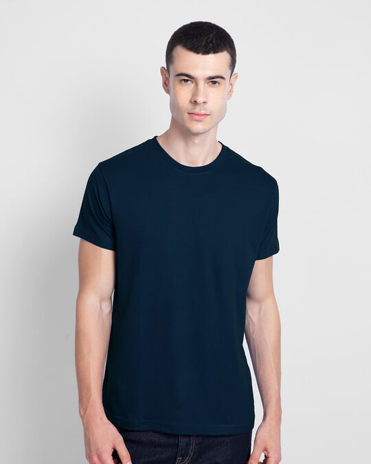 Shop Men's Plain Half Sleeves T-Shirt Pack of 2 (Navy Blue)-Back