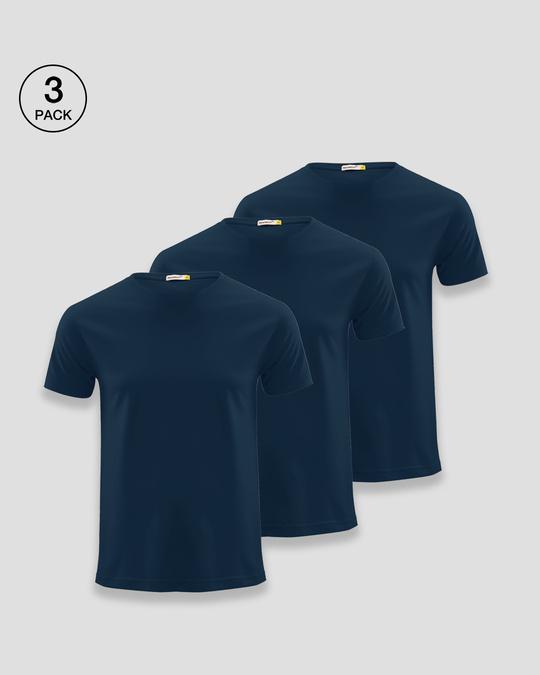 Shop Men's Plain Half Sleeves T-Shirt Pack of 3 (Navy Blue)-Front