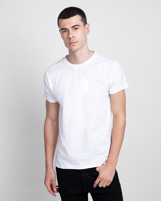 Shop Men's Plain Half Sleeves T-Shirt Pack of 3 (White)-Back