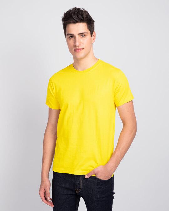 Shop Men's Plain Half Sleeve T-Shirt Pack of 2 (Pineapple Yellow)-Back