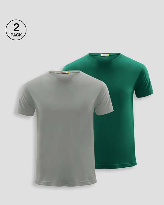 Shop Men's Plain Half Sleeves T-Shirt Pack of 2(Meteor Grey & Dark Forest)-Front
