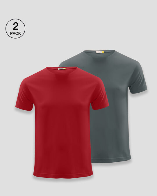 Shop Men's T-Shirts Pack of 2 (Bold Red & Nimbus Grey)-Front