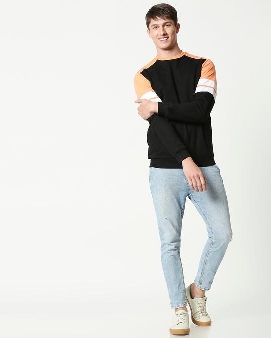 Shop Orange Rush Colorblock Fleece Sweater