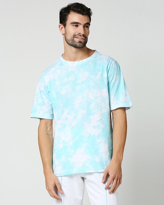 Shop Beach Blue Tie & Dye Print Relaxed Fit Half Sleeve T-Shirt-Back