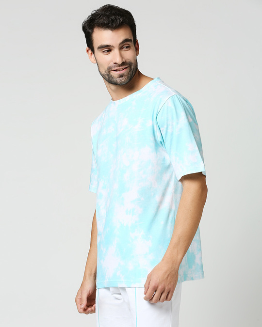 Shop Beach Blue Tie & Dye Print Relaxed Fit Half Sleeve T-Shirt-Full