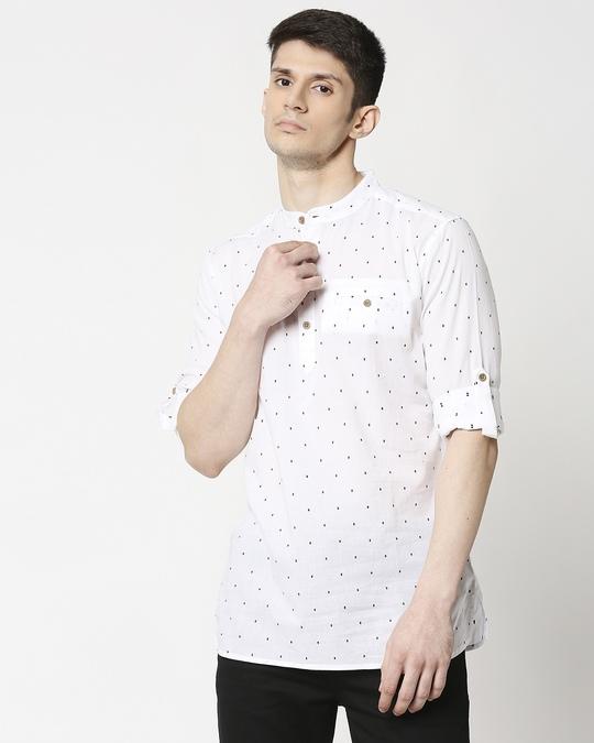 Shop Men's White Black Dobby Kurta-Front