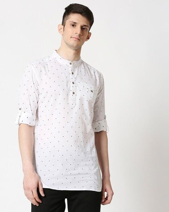 Shop Men's White Black Dobby Kurta-Back