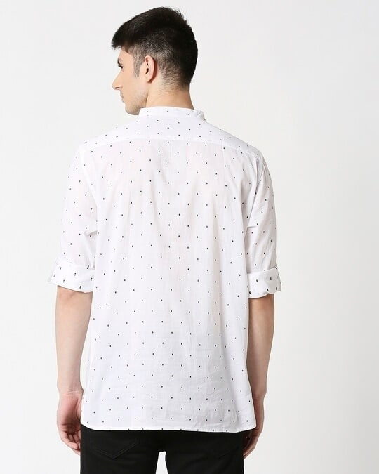 Shop Men's White Black Dobby Kurta-Full