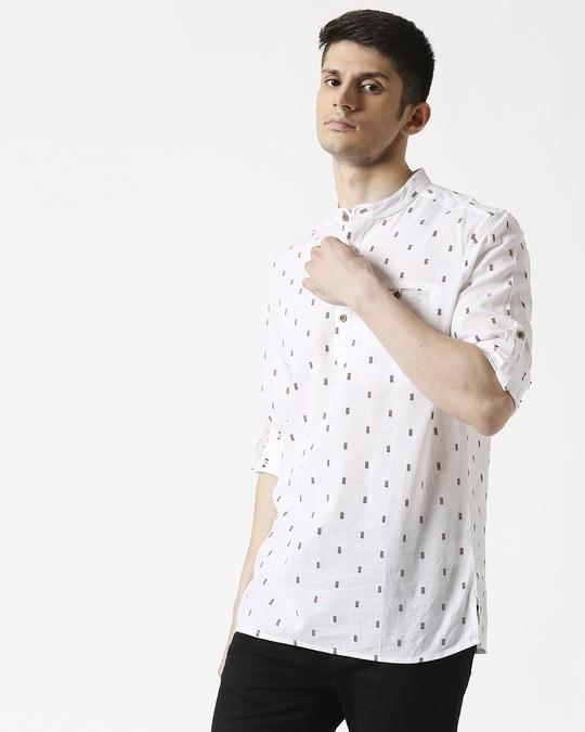 Shop Men's White Red Dobby Kurta-Front