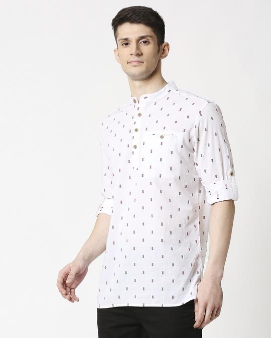 Shop Men's White Red Dobby Kurta-Design