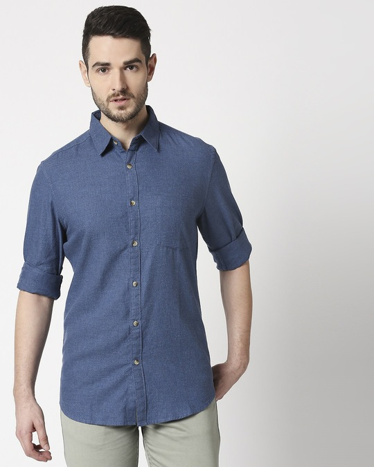 Shop Men's Yellow Slim Fit Casual Indigo Shirt-Back