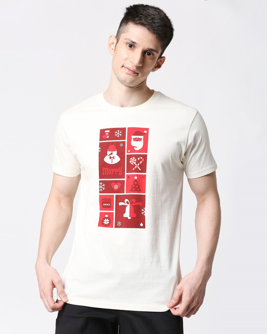 Shop Men Santa Chest Printed Half Sleeves White T-shirt-Front
