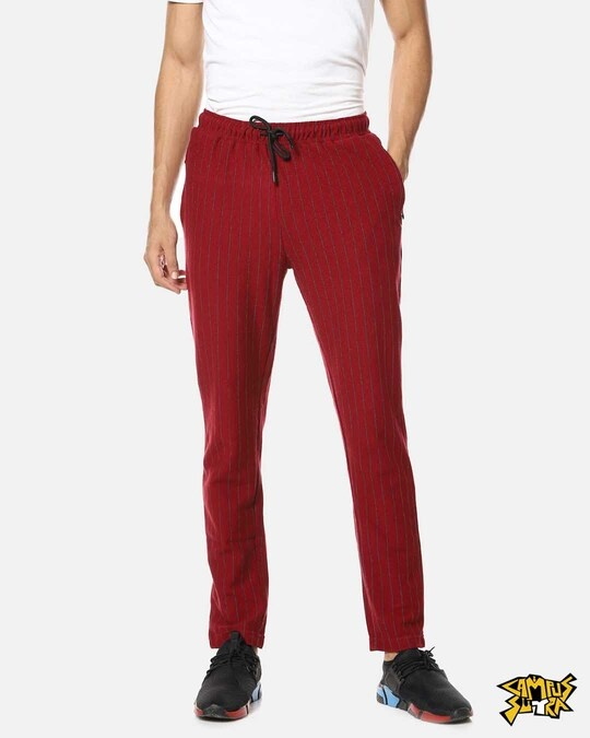 Shop Campus Sutra men's Solid Red Trackpants-Front
