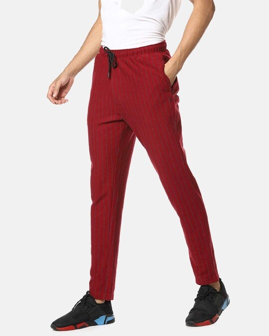 Shop Campus Sutra men's Solid Red Trackpants-Full