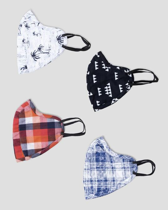 Shop Men Three Panel Mask Combo of 4 (Designer checks)-Design