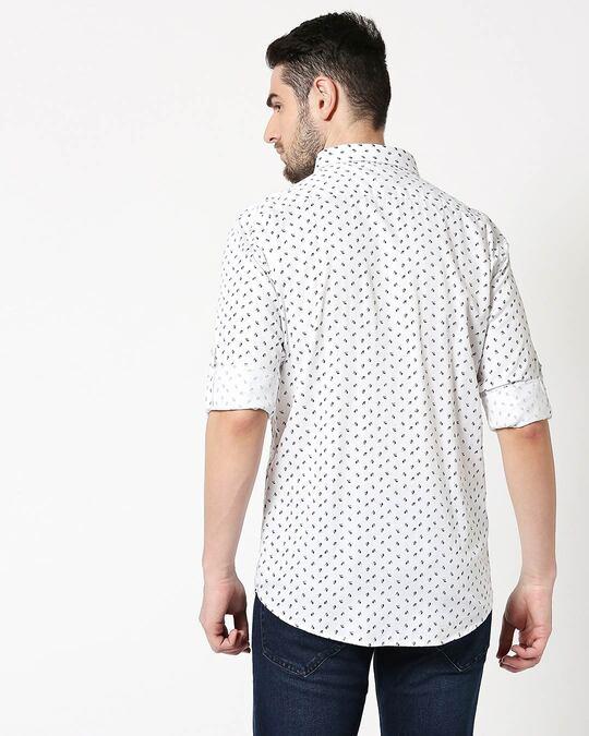 Shop Men White AOP Slim Fit Casual Shirt-Full
