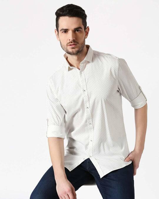 Shop Men White AOP Slim Fit Casual Shirt-Front