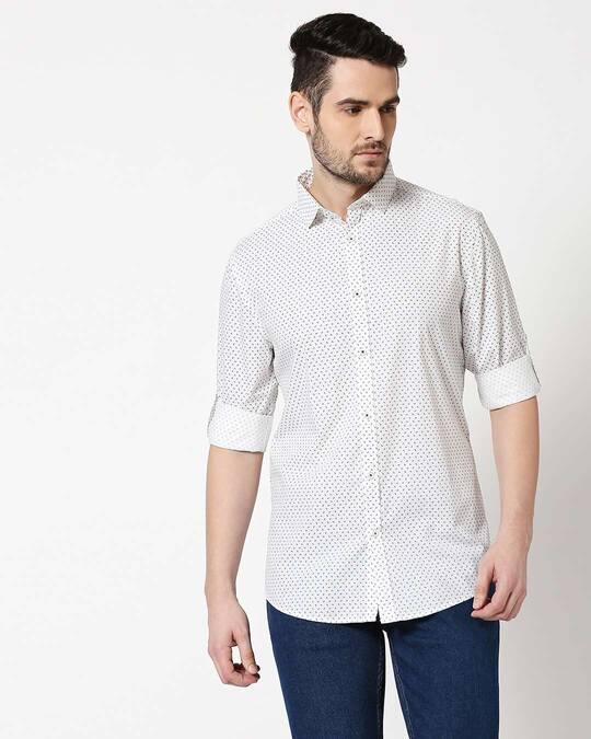 Shop Men White AOP Slim Fit Casual Shirt-Back