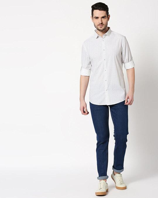 Shop Men White AOP Slim Fit Casual Shirt