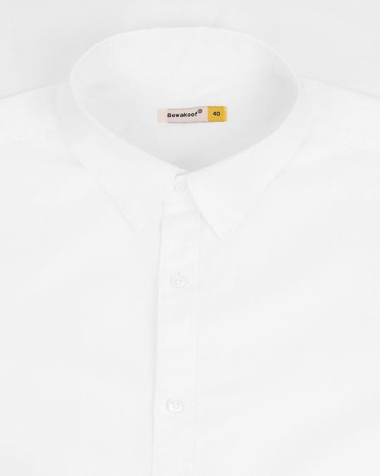Shop Men White Poplin Lycra Slim Fit Casual Shirt