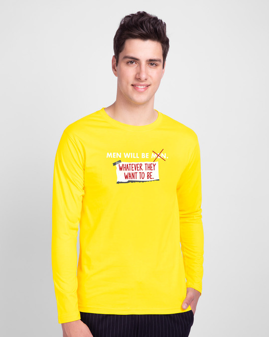 Shop Men Will Be.. Full Sleeve T-Shirt Pineapple Yellow-Front
