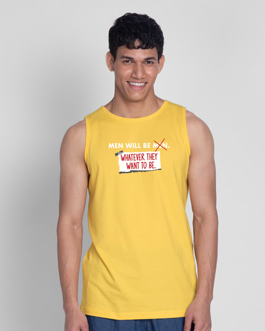 Shop Men Will Be.. Round Neck Vest Happy Yellow-Front