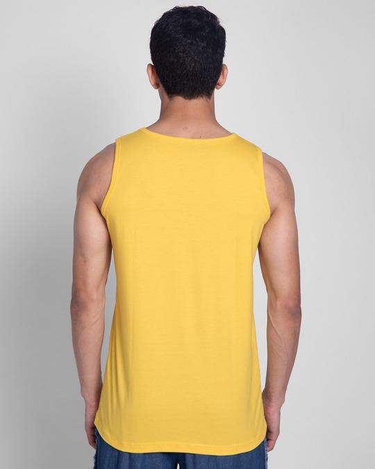 Shop Men Will Be.. Round Neck Vest Happy Yellow-Back