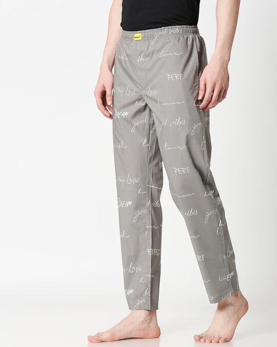 Shop Grey Calligraphy Men's Pyjama-Design