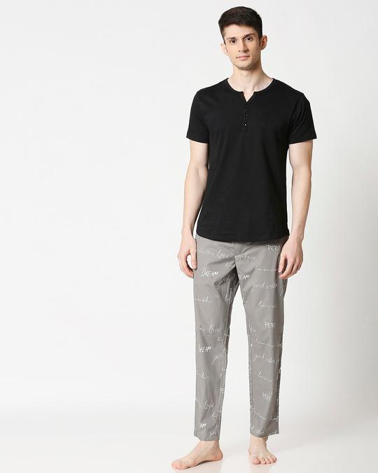 Shop Grey Calligraphy Men's Pyjama