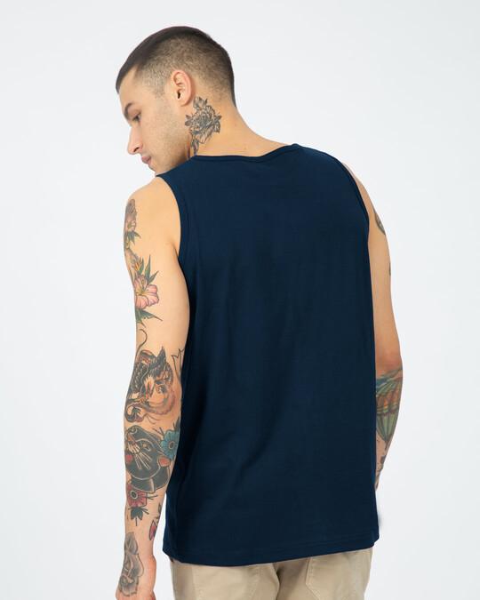Shop Mentally Travelling  Round Neck Vest Navy Blue-Back