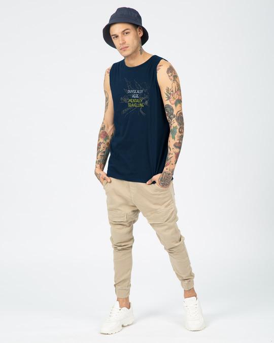 Shop Mentally Travelling  Round Neck Vest Navy Blue-Full