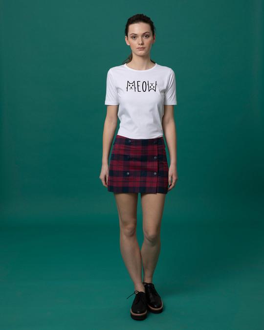 Shop Meow Typo Basic Round Hem T-Shirt
