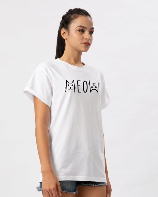 Shop Meow Typo Boyfriend T-Shirt-Back
