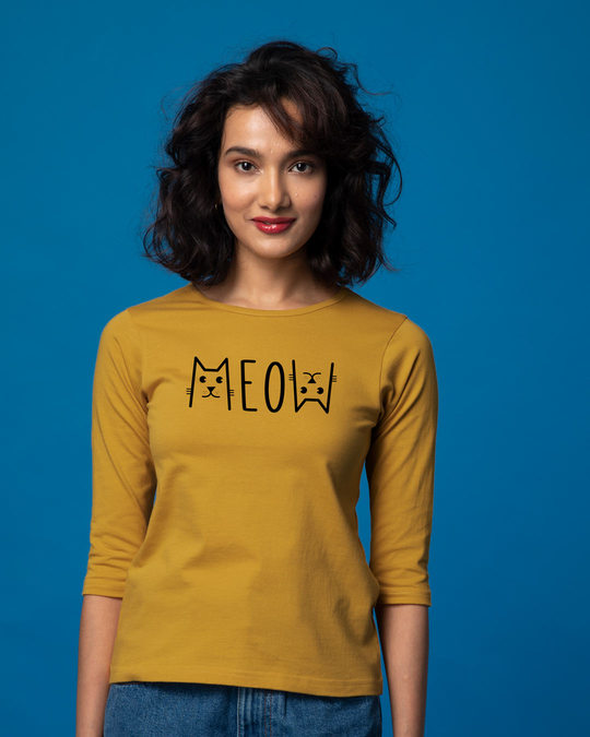 Shop Meow Typo Round Neck 3/4th Sleeve T-Shirt-Front
