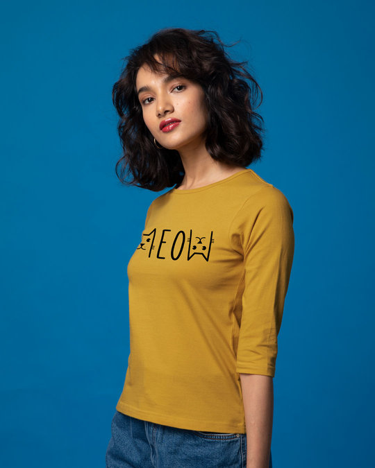 Shop Meow Typo Round Neck 3/4th Sleeve T-Shirt-Back