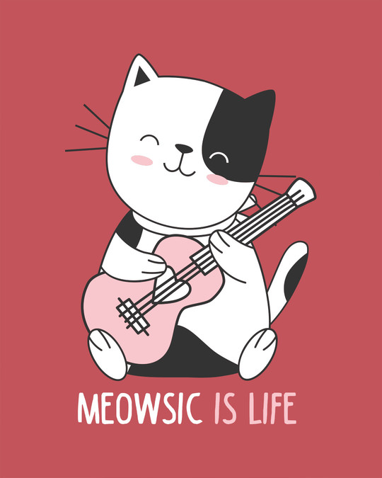 Shop Meowsic Round Neck 3/4th Sleeve T-Shirt-Full