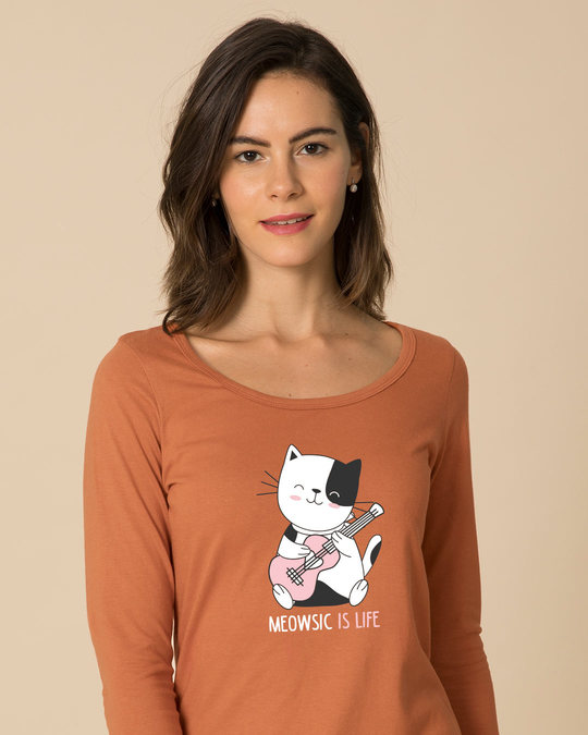 Shop Meowsic Scoop Neck Full Sleeve T-Shirt-Front